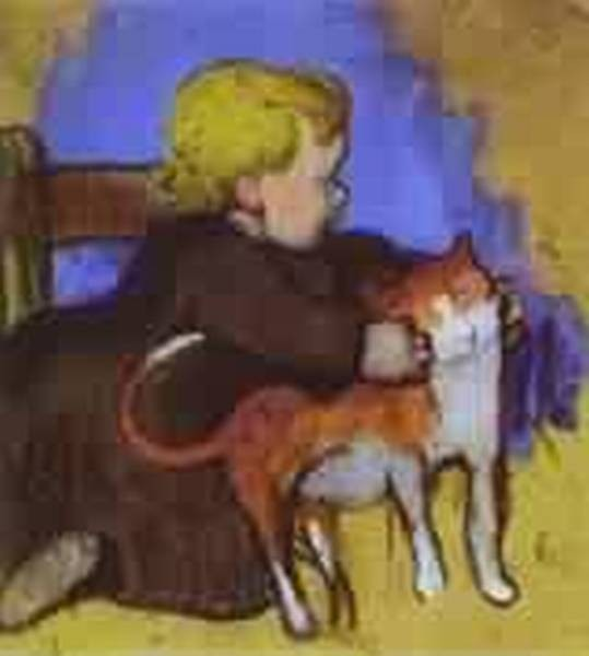 Mimi and her cat 1890 private collection